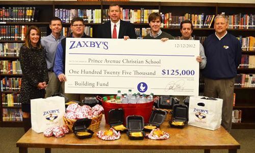 Zaxby's Donates $125,000 to Aid Expansion of Prince Avenue Christian School