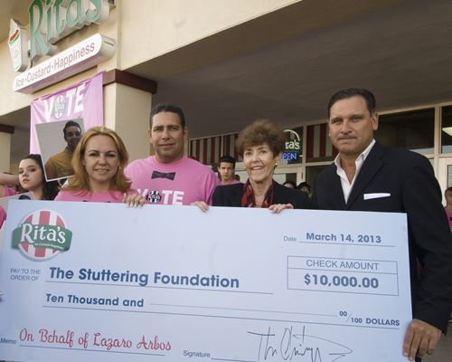 Rita's Italian Ice Donates $10,000 to Stuttering Foundation on Behalf of Treat Team Member and American Idol Finalist Lazaro Arbos