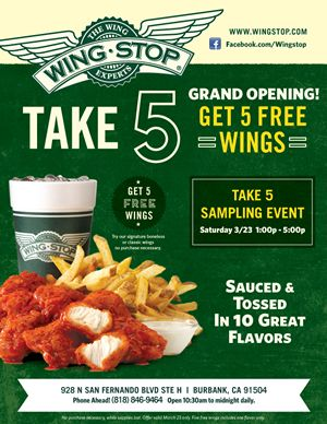 Wingstop of Burbank to Celebrate Grand Opening with FREE Wings March 23