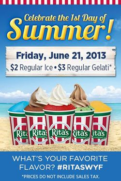 Rita's Italian Ice to Celebrate 2nd Annual First Day of Summer Event