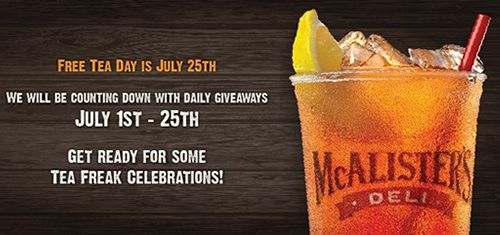 """McAlister's Deli Celebrates 5th Annual """"Free Tea Day"""" With Sweet Summer Sweepstakes"""
