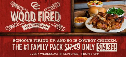 Cowboy Chicken Wood Fire Rotisserie Will Celebrate National Chicken Month & Back To School With Wood-Fired Wednesdays