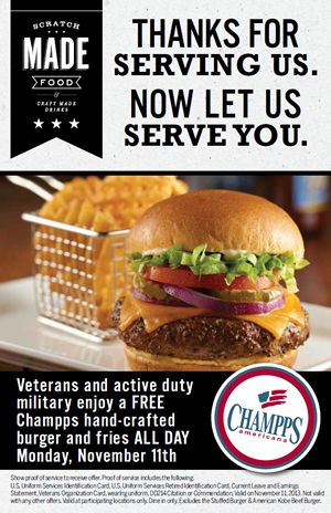 Champps Americana Says To Veterans and Troops: Thanks for Serving America, Now Let Us Serve You