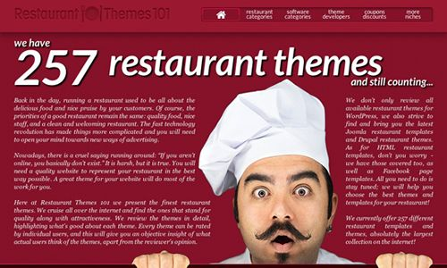Restaurant Themes 101 released, the largest collection of restaurant website templates