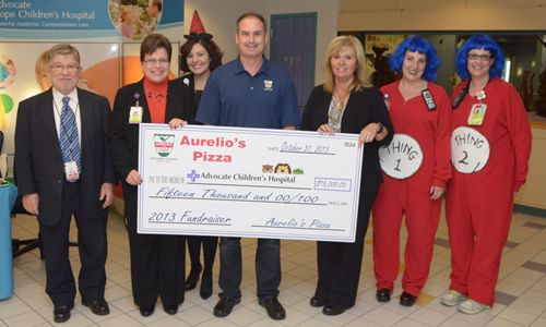 Aurelio's donates $15,000 to Advocate Children's Hospital thanks to the generosity of our customers