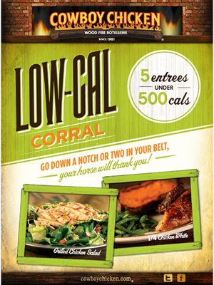 Cowboy Chicken's Popular Low Cal Corral Menu Returns in Time for New Year's Resolutions