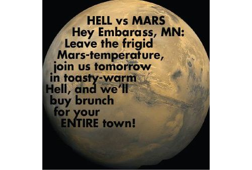 Hell vs. Mars: Hell's Kitchen Invites the ENTIRE TOWN of Embarrass, MN to a FREE Brunch Tomorrow in Hell