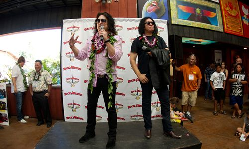 Rock Icons Gene Simmons and Paul Stanley Say Aloha to Hawaii