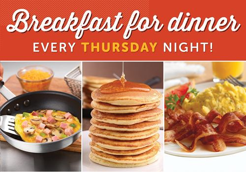 Ryan's, HomeTown Buffet and Old Country Buffet Serve Dinner Sunny Side Up With Breakfast Favorites On Thursday Nights