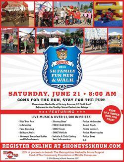 Shoney's Set For 6th Annual Shoney's 5K Family Fun Run & Walk on June 21st at LP Field