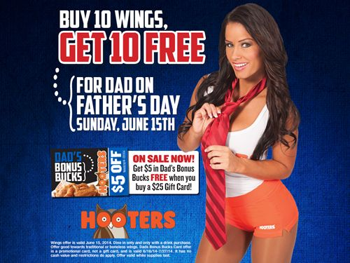 Treat Dad Right with Free Wings at Hooters on Father's Day