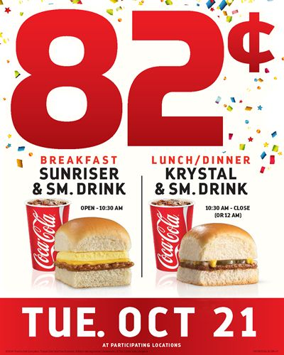 Sunriser To Sundown, Krystal To Offer Deals For 82 Cents