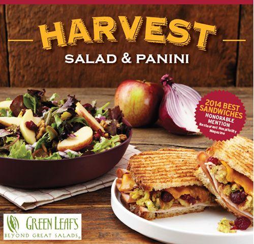 Villa Enterprises Brings Back Popular Harvest Panini Sandwich and Introduces Harvest Salad at Green Leaf's Restaurants