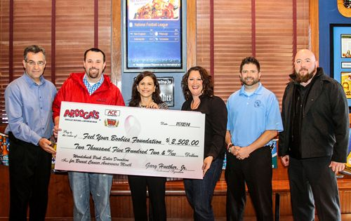 Arooga's Raises $2502 For Feel Your Boobies Foundation in October
