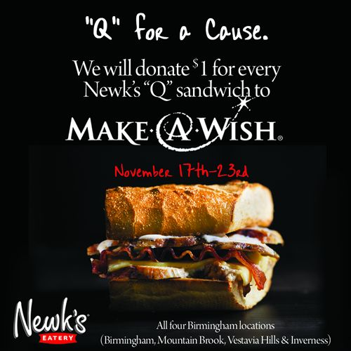 """Birmingham Newk's Eatery Restaurants Celebrate New Inverness Location Opening With """"Q for a Cause"""" to Raise Funds for Make-a-Wish Alabama"""