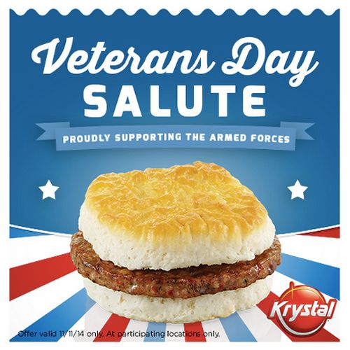 Krystal Honors Active and Retired Military with Free Sausage Biscuit on Veterans Day, November 11