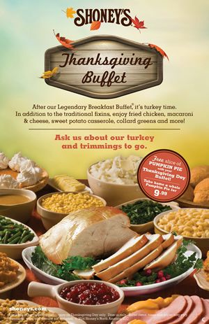 Shoney's Will Be Open on Thanksgiving, Invites America to Enjoy its Home-Style Thanksgiving Buffet