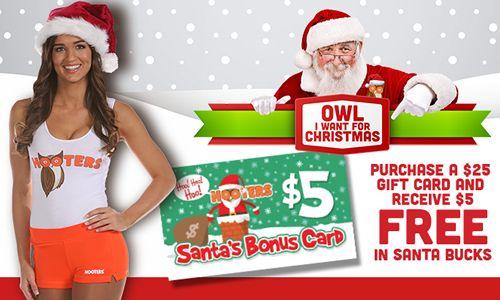 "Hooters Bonus ""Santa's Bucks"" Make Holidays Extra Special"