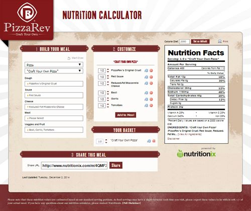 PizzaRev Brings Nutritional Transparency to Fast-Casual Pizza, Launches Nutrition Portal Built by Nutritionix