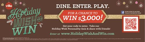 Villa Italian Kitchen Hosts Facebook Holiday Wish & Win Sweepstakes!