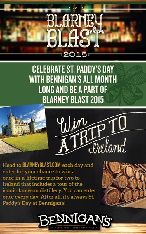 Bennigan's Celebrates St. Paddy's Day with Trip to Ireland