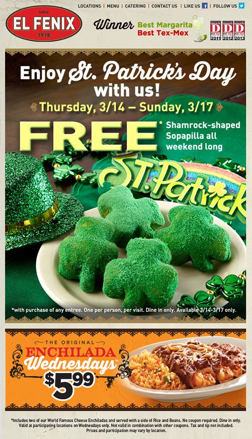 El Fenix to Celebrate St. Patrick's Day with Free Shamrock-Shaped Sopapillas