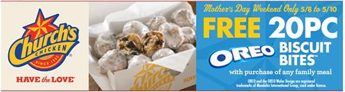 Church's Offers Free 20-Piece Oreo Biscuit Bites With Every Family Meal Purchase During Mother's Day Weekend