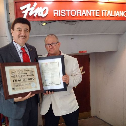 Fino Wall Street Ristorante Earns 5-Stars From FSM 22000 Food Auditors