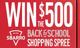 Go Back to School with a $500 Shopping Spree from Sbarro