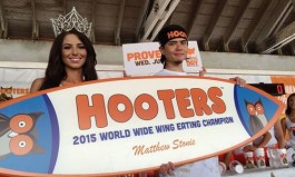 """Matt """"Megatoad"""" Stonie Tastes Victory with Wing Eating Record, Defeats Joey """"Jaws"""" Chestnut at Hooters Worldwide Wing Eating Championship"""