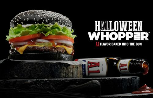 BURGER KING Restaurants Unveil the A.1. Halloween WHOPPER Sandwich with A.1. Flavor Baked into the Black Bun