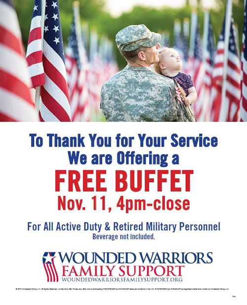 Ponderosa and Bonanza Steakhouse Restaurants Offer Free Buffet for Military on Veterans Day