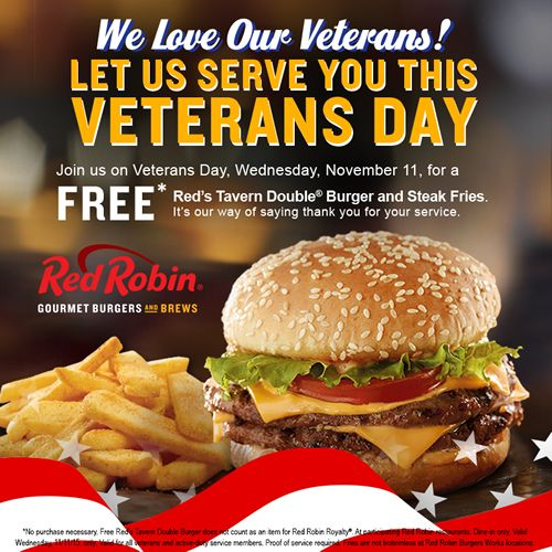 Red Robin Thanks Military Members for Their Service with Free Tavern Double Burger on Veterans Day