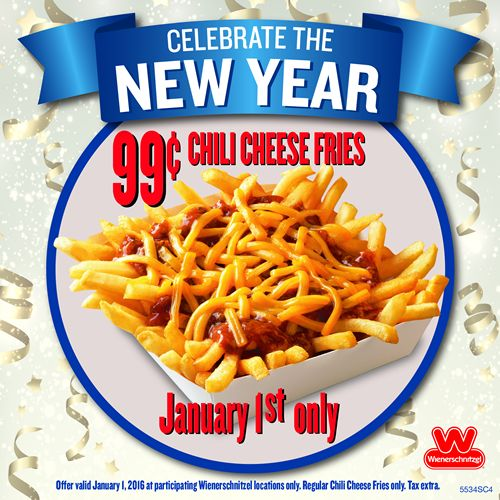 Wienerschnitzel Rings in the New Year with 99¢ Chili Cheese Fries