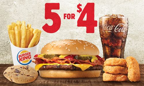 Burger King Restaurants Offer More for Four with Unbeatable 5 for $4 Deal