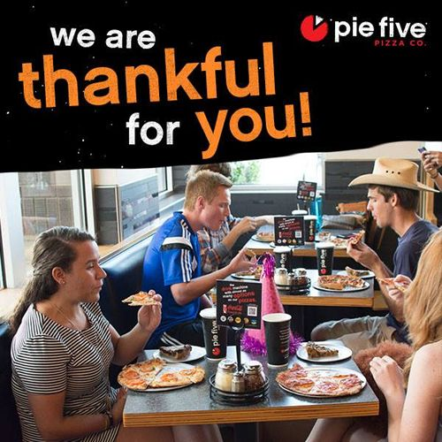 Pie Five Pizza Says Cheese and Thank You in January