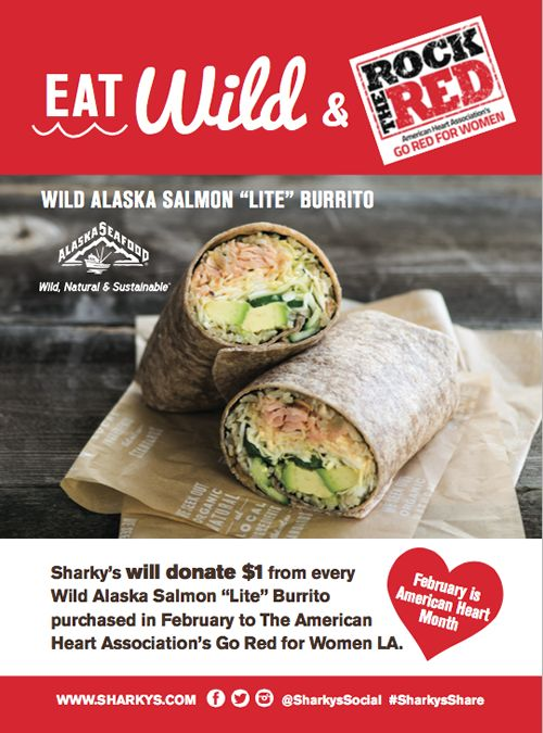 Eat Wild, Go Red, and Help Save Lives at Sharky's Woodfired Mexican Grill in February