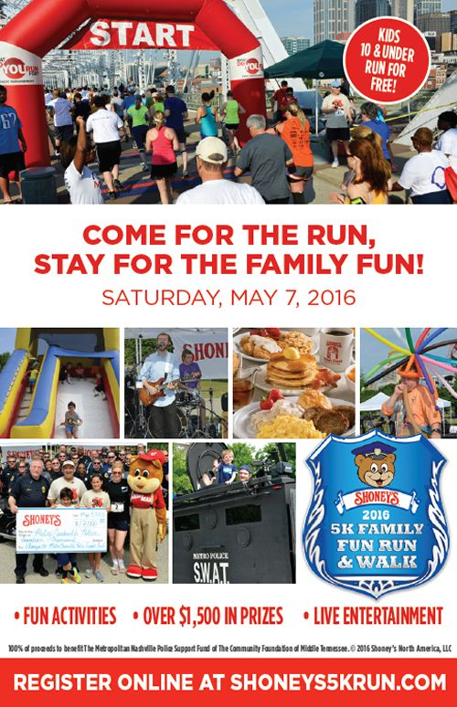 Shoney's Set For 8th Annual Shoney's 5K Family Fun Run, Walk & FREE Festival on May 7th at Nissan Stadium