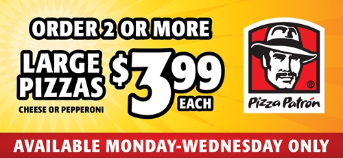 Customers Win Big this Summer with Pizza Patrón's $3.99 Large Pizza Deal