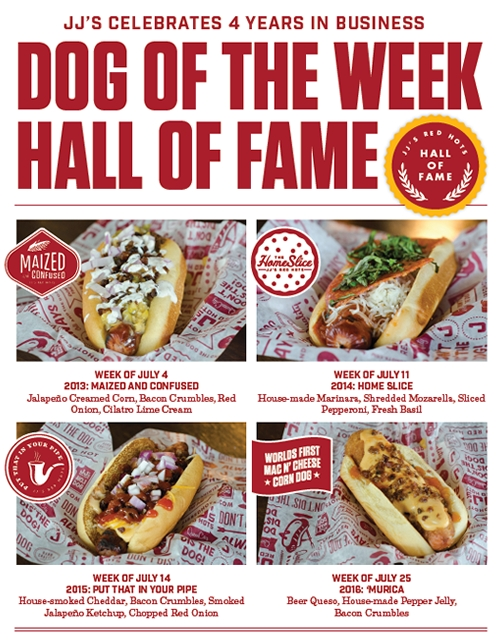JJ's Red Hots Brings Back its Most Popular Dog of the Week Creations for National Hot Dog Month