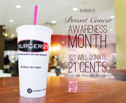 Burger 21 Goes Pink In October By Donating Portion Of Sales From Each Shake, Float & Fountain Drink Sold To Fight Breast Cancer