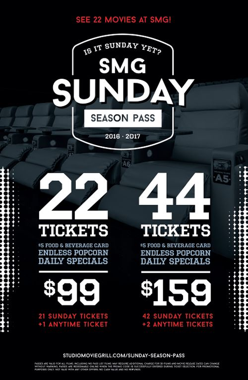 Studio Movie Grill Premiers Sunday Season Passes for Non-Football Fans