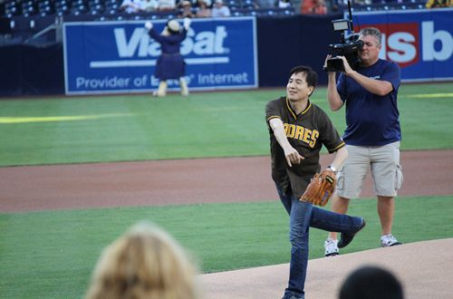 Dream Come True: Yogurtland's Phillip Chang Throws Out First Pitch at San Diego Padres Game