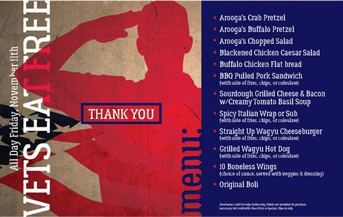 Arooga's To Thank Veterans with Free Meal on Veterans Day