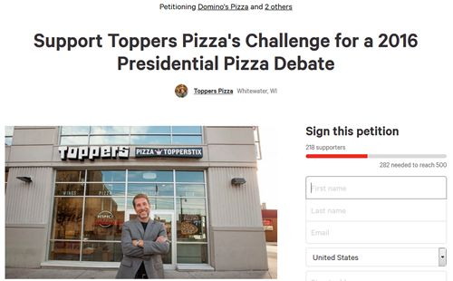 "Corporate Pizza Chains Remain Silent on Toppers Pizza's Challenge for ""Presidential Pizza Debate"""