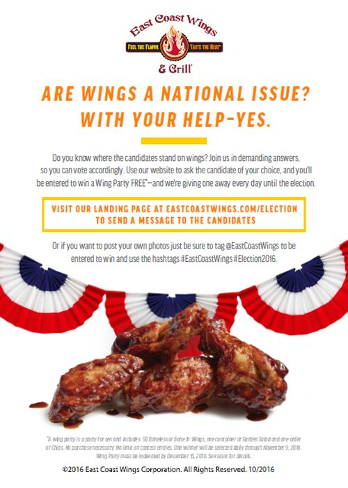 East Coast Wings & Grill Launches National Poll to Find Presidential Candidates' Stance on Chicken Wings