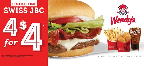 Swiss Just In: Wendy's Adds Swiss Jr. Bacon Cheeseburger to 4 for $4 Meal