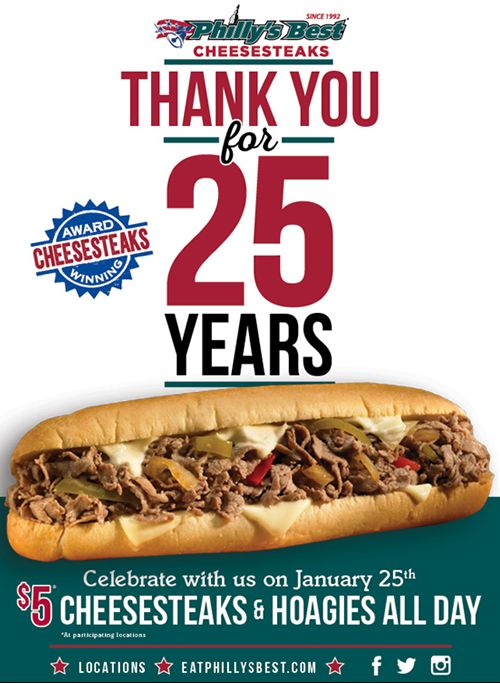 Philly's Best Celebrates 25th Anniversary with $5 Cheesesteaks