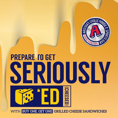 Arooga's Offering FREE Grilled Cheese Sandwiches on National Grilled Cheese Day, Wednesday, April 12