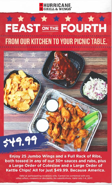 Hurricane Grill & Wings Invites Guests to Celebrate July 4th with Special Chicken Wing, Rack of Ribs, Kettle Chips & Coleslaw Deal